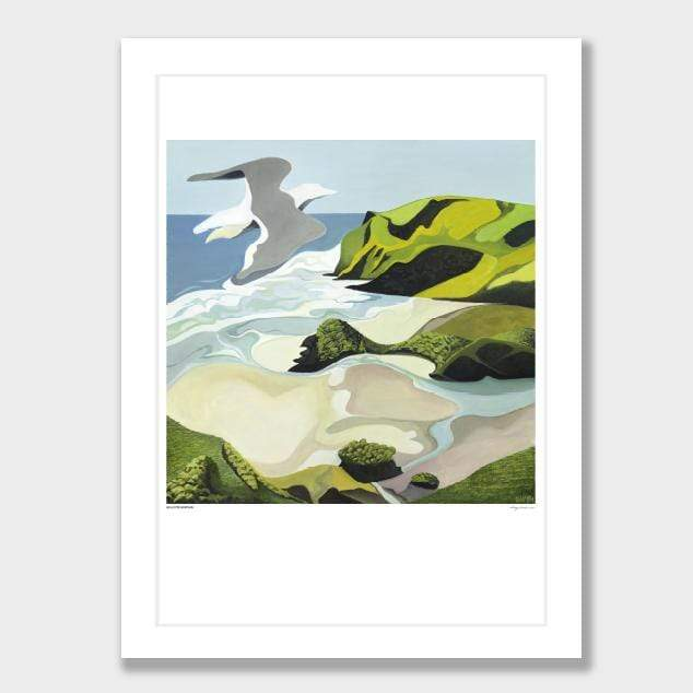 Gull Over Anawhata Art Print by Guy Harkness