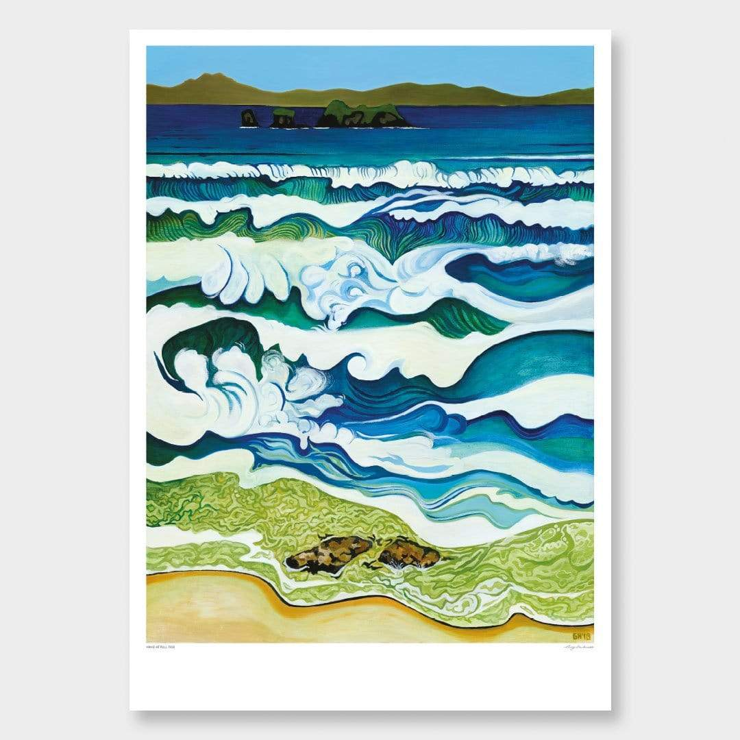Hahei at High Tide Art Print by Guy Harkness