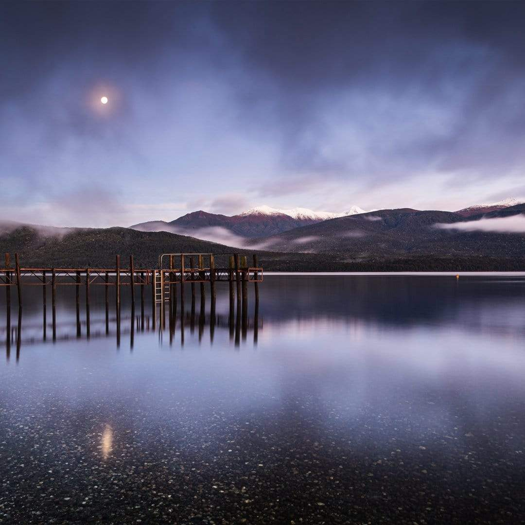 Moon over Lake Te Anau Photographic Print by Mike Mackinven