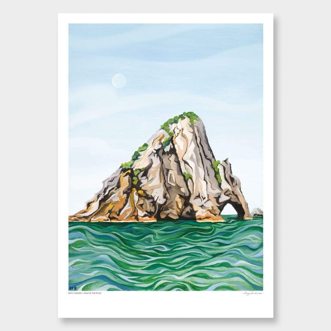 Motukokako - Hole in the Rock Art Print by Guy Harkness
