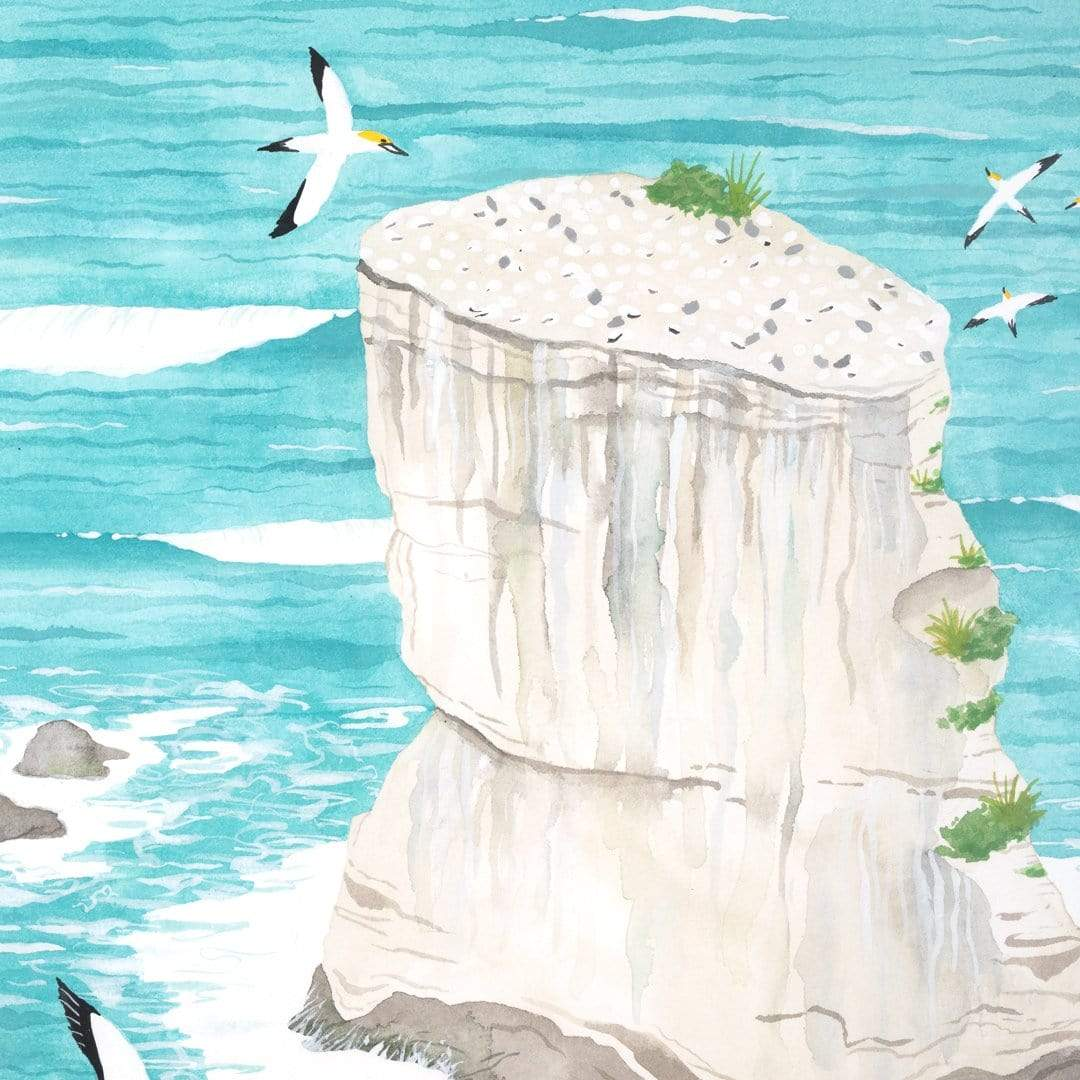 Muriwai Gannet Colony Original Painting by Emma Huia Lovegrove
