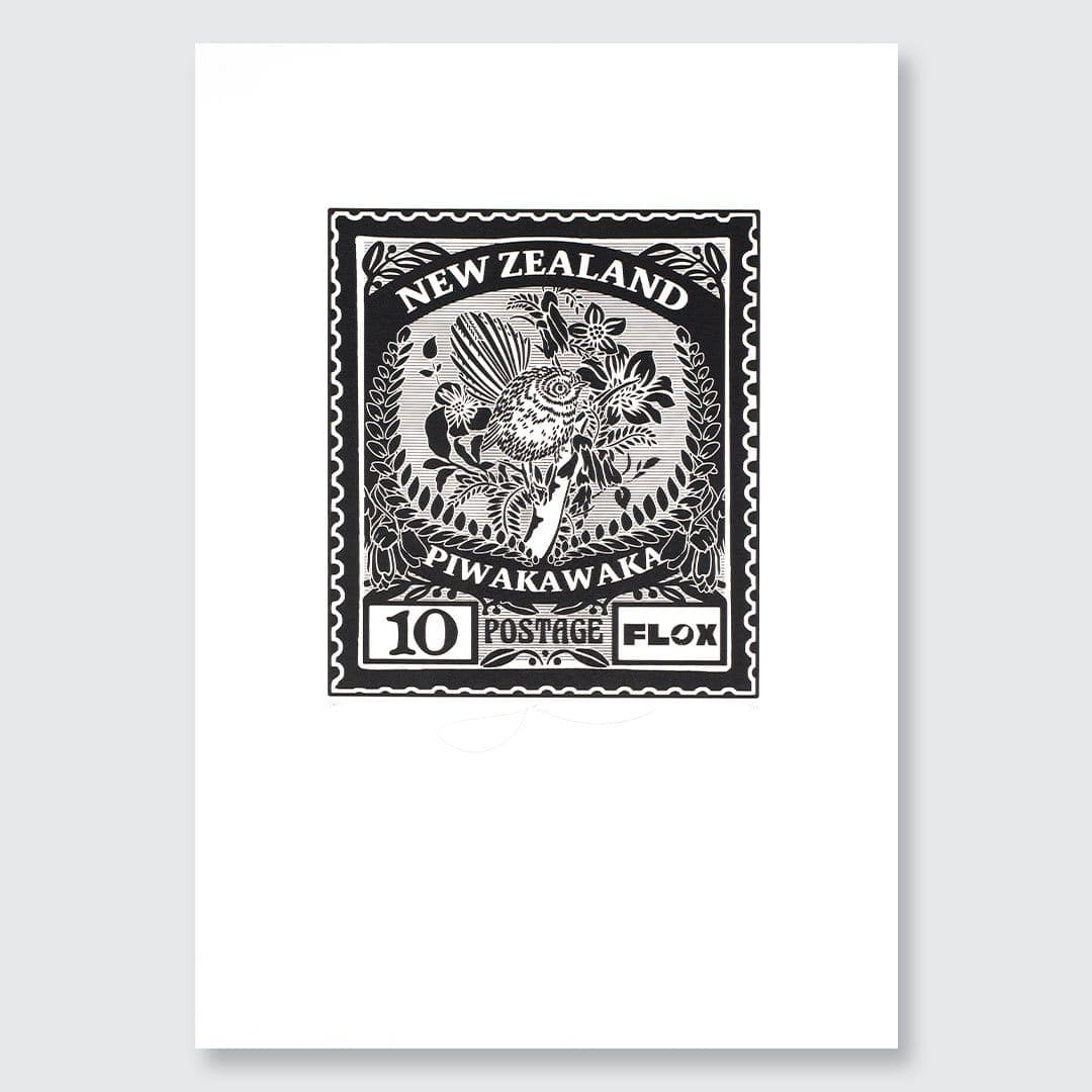 Piwakawaka Stamp Screen-Print by Flox