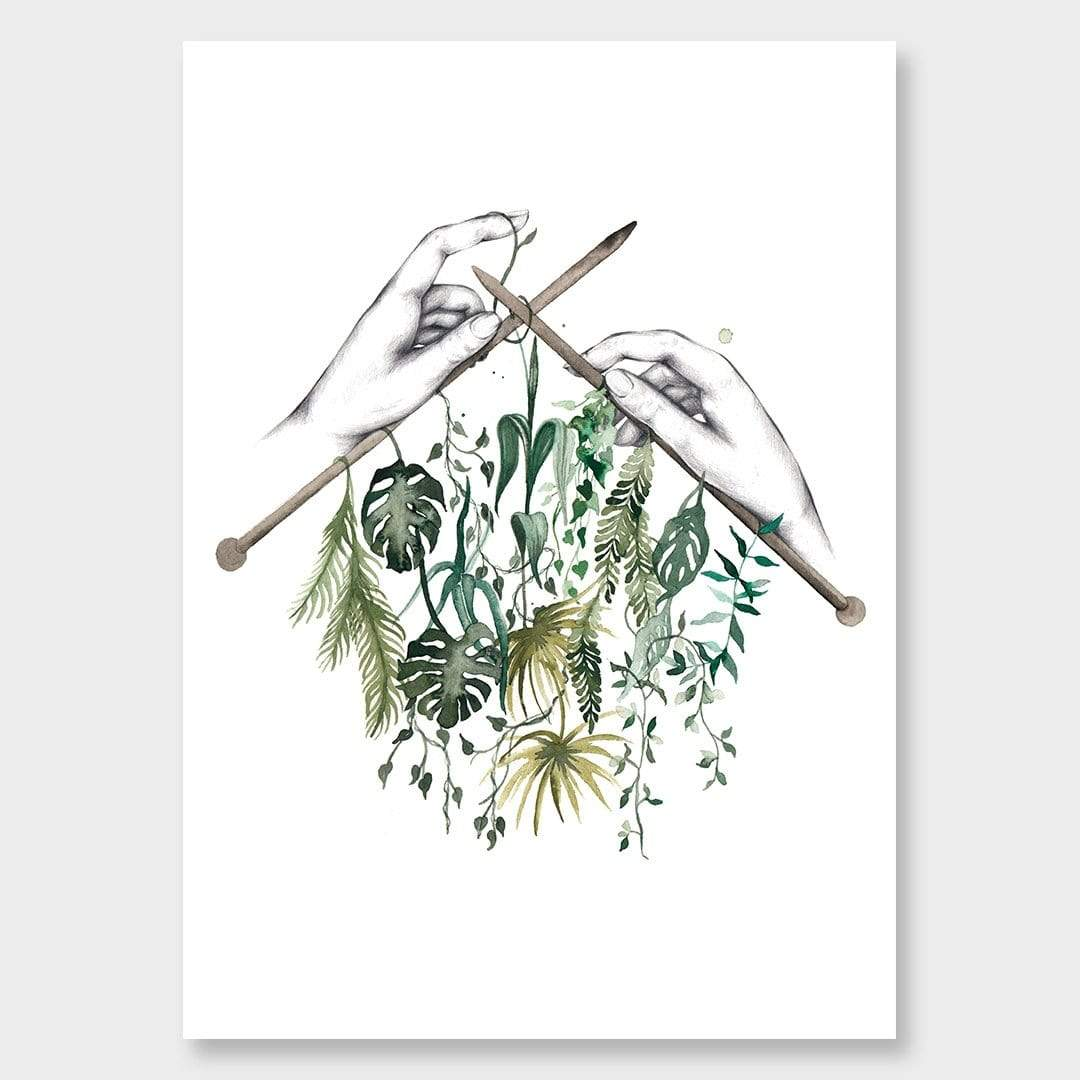 Plant Knitting Art Print by Chloe Ruby