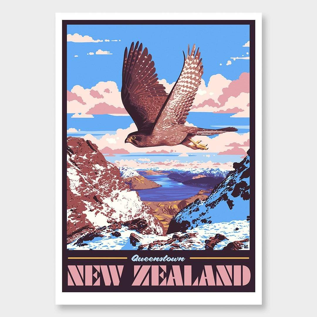 Queenstown Art Print (Vintage Travel Series) by Ross Murray