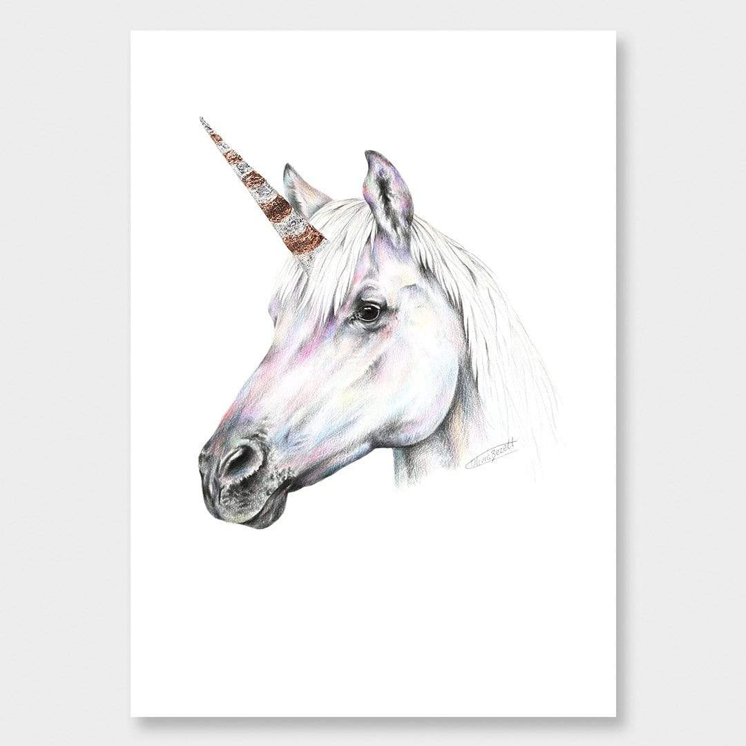 Rainbow Unicorn Art Print by Olivia Bezett