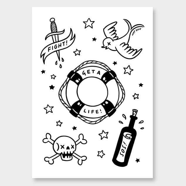 Sailor Tatts Art Print by Natasha Vermeulen