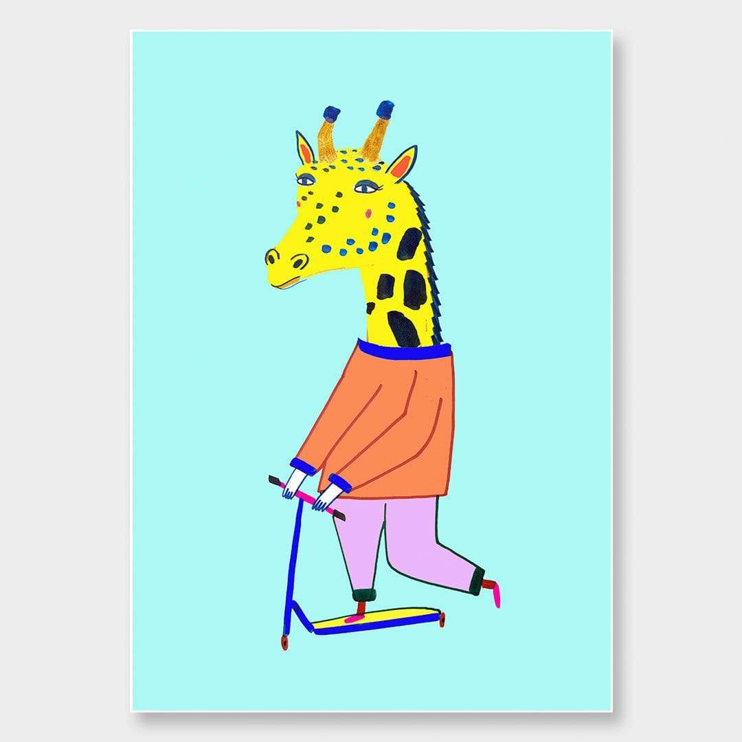 Scooter Giraffe Art Print by Ashley Percival