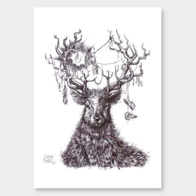 Stag Do Art Print by Cinzah Seekayem