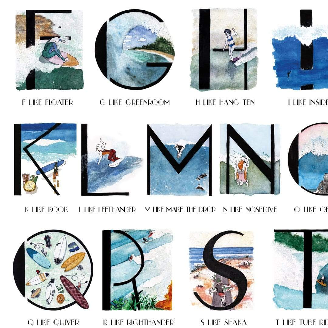The Surfing Alphabet Art Print by Laura Feller