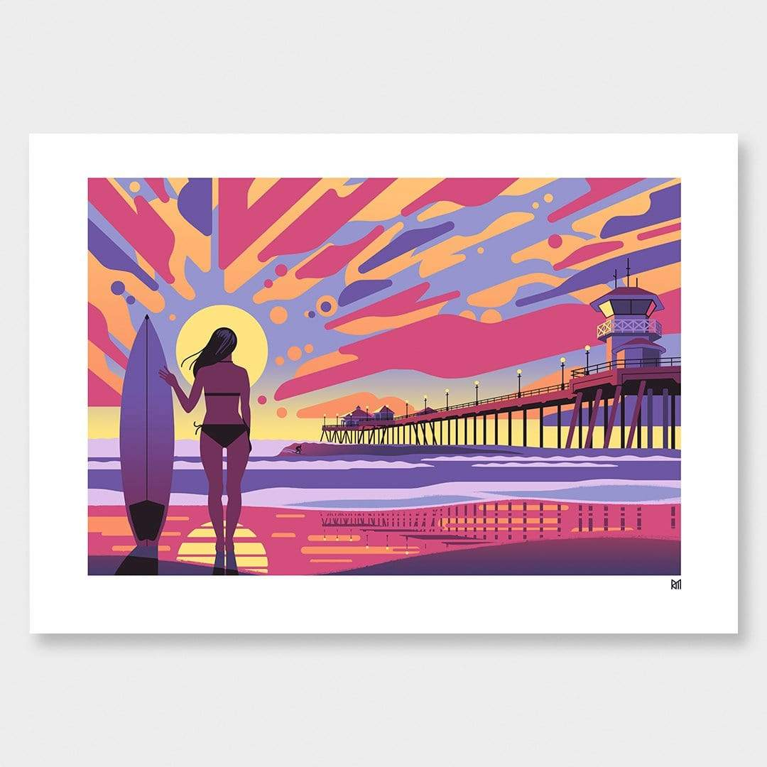 Surf Huntington Art Print by Ross Murray