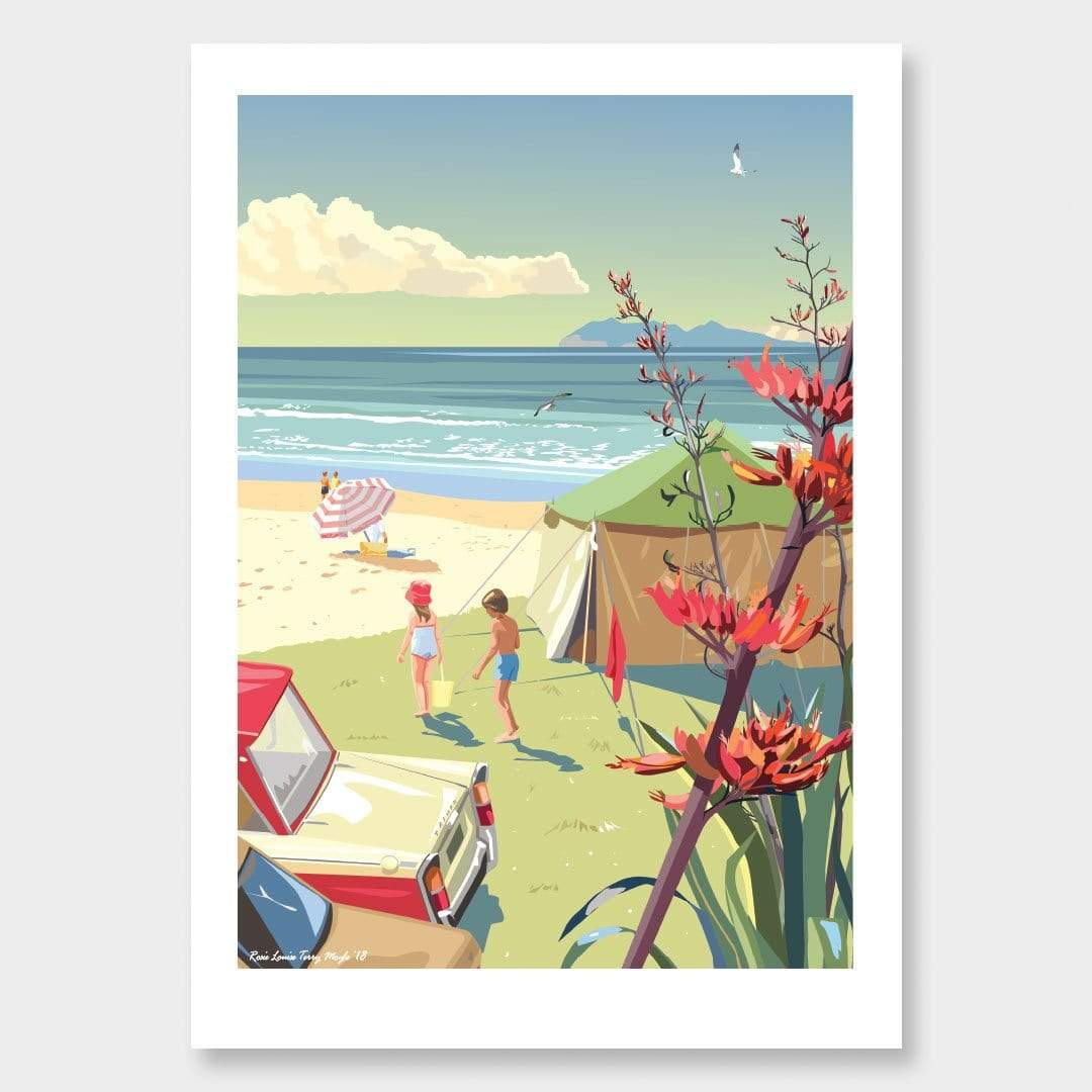 Waihi Beach Art Print by Contour Creative Studio