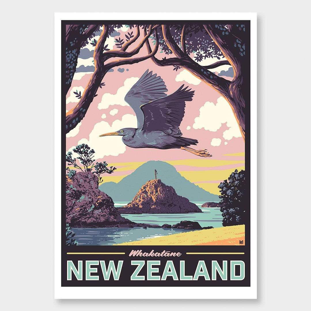 Whakatane Art Print (Vintage Travel Series) by Ross Murray