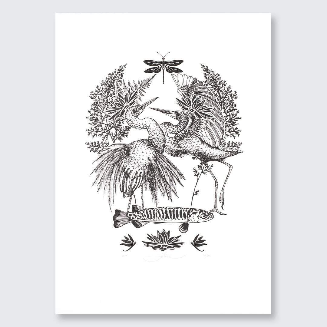 White Heron and White Bait Screen-Print by Flox