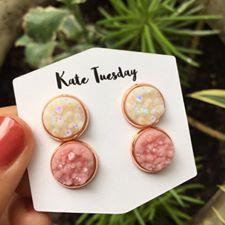 Double White + Matte Pink Sparkly Geode Crystal Druzy Earrings Set - Bucket Social