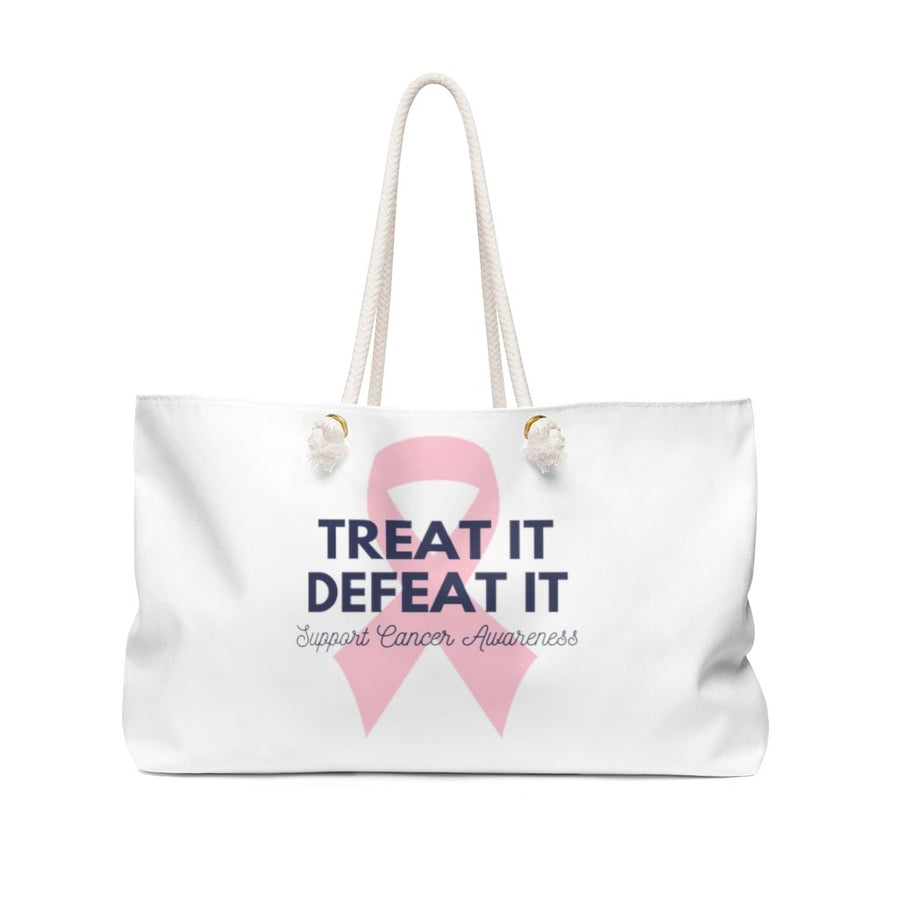 Cancer Awareness Defeat It Strong And Beautiful 2 Sided Weekender Bag - Bucket Social