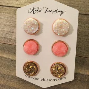 Sparkly Geode Crystal White Pink Gold Triple Set of 12mm Druzy Earrings - Bucket Social