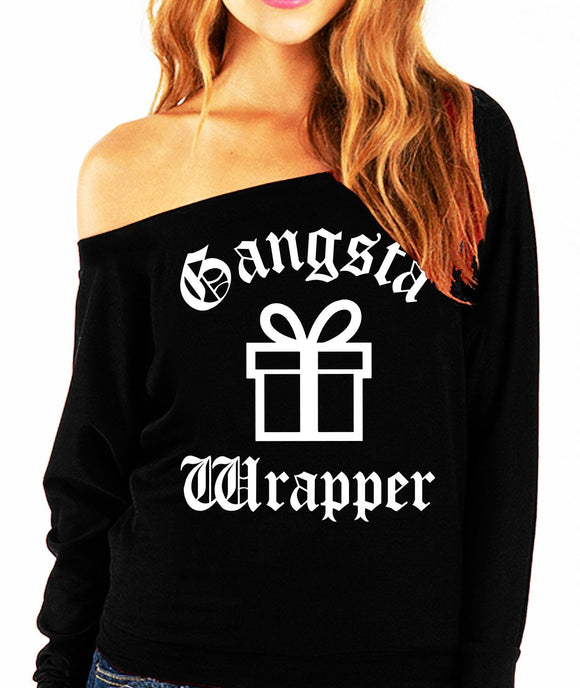 Gangsta Wrapper Christmas Present Slouchy Sweatshirt - Bucket Social
