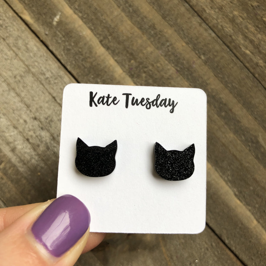 Black Cat Glittery Acrylic Stud Halloween Earrings nickel + lead free - Bucket Social