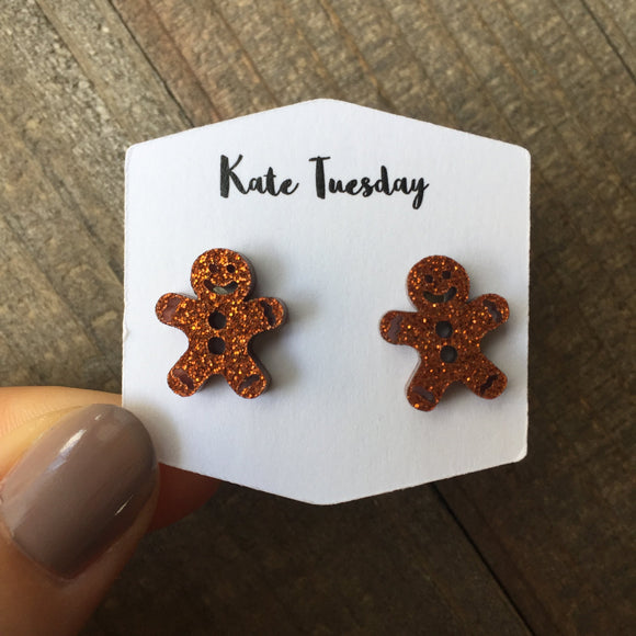 Rose Gold Sparkly Ginger Bread Man Stud Acrylic Earrings - Bucket Social