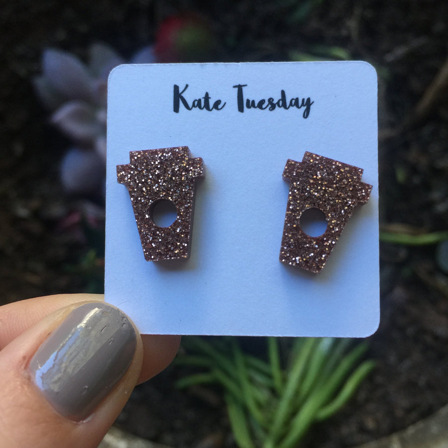 Rose Gold Coffee Cup Stud Acrylic Earrings Lead and Nickel Free