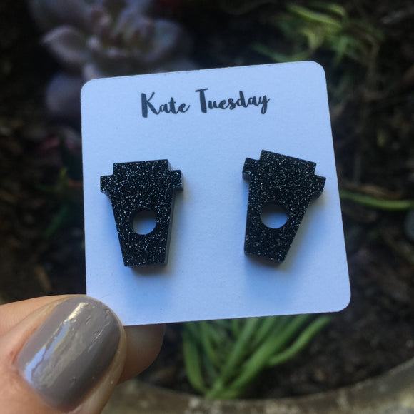 Black Coffee Cup Stud Acrylic Earrings
