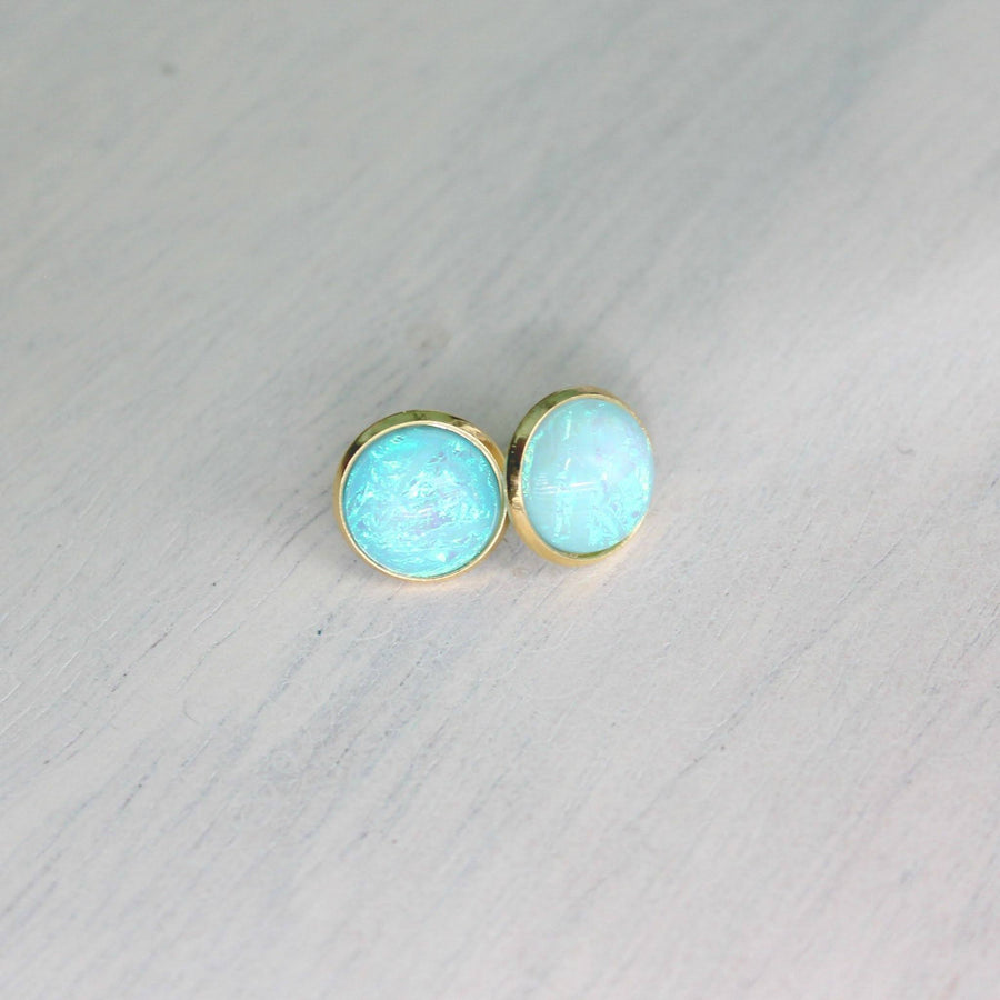 Opal Domes In Gold Stud Earrings