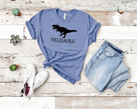 Pregosaurus Dinosaur Pregnancy Announcement Women's Maternity T-Shirt - Bucket Social