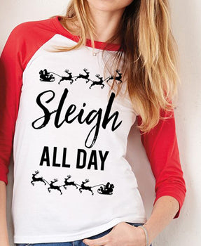 SLEIGH ALL DAY Christmas Red Baseball Women's T-Shirt - Bucket Social
