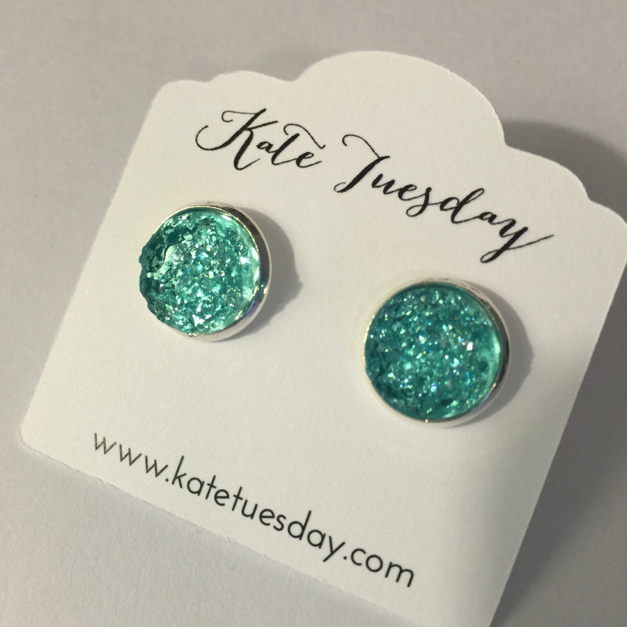 Aquamarine Druzy 12mm Earrings Nickel and Lead Free - Bucket Social