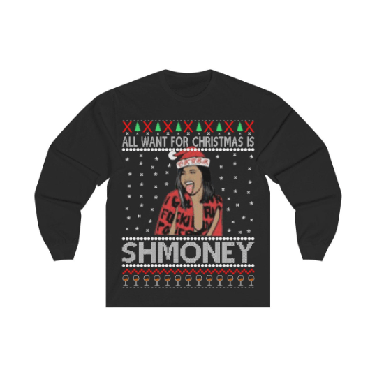 All I Want For Christmas Cardi B Schmoney Christmas Sweatshirt - Bucket Social