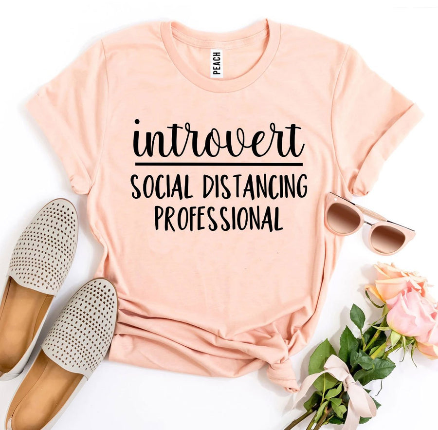 Introvert Social Distancing Professional Womens T-shirt - Bucket Social