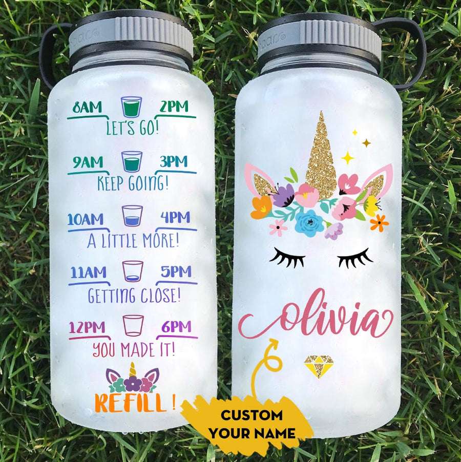 Personalized Unicorn 34oz Tracker Water Bottle
