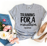 Training For a Marathon On Netflix Women's T-Shirt - Bucket Social