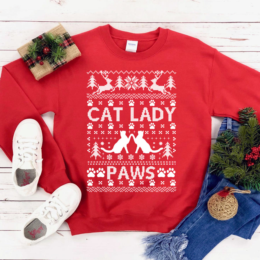 Cat lady Christmas Sweatshirt