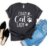 Crazy Cat Lady Womens Casual T-Shirt Cat Lovers - Bucket Social