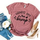 Hands Off The Bump Pregnant Pregnancy Announcement Maternity  T-Shirt - Bucket Social