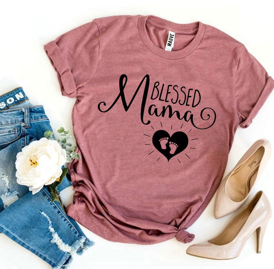 Blessed Mama Women's T-Shirt Mother Mother To Be - Bucket Social