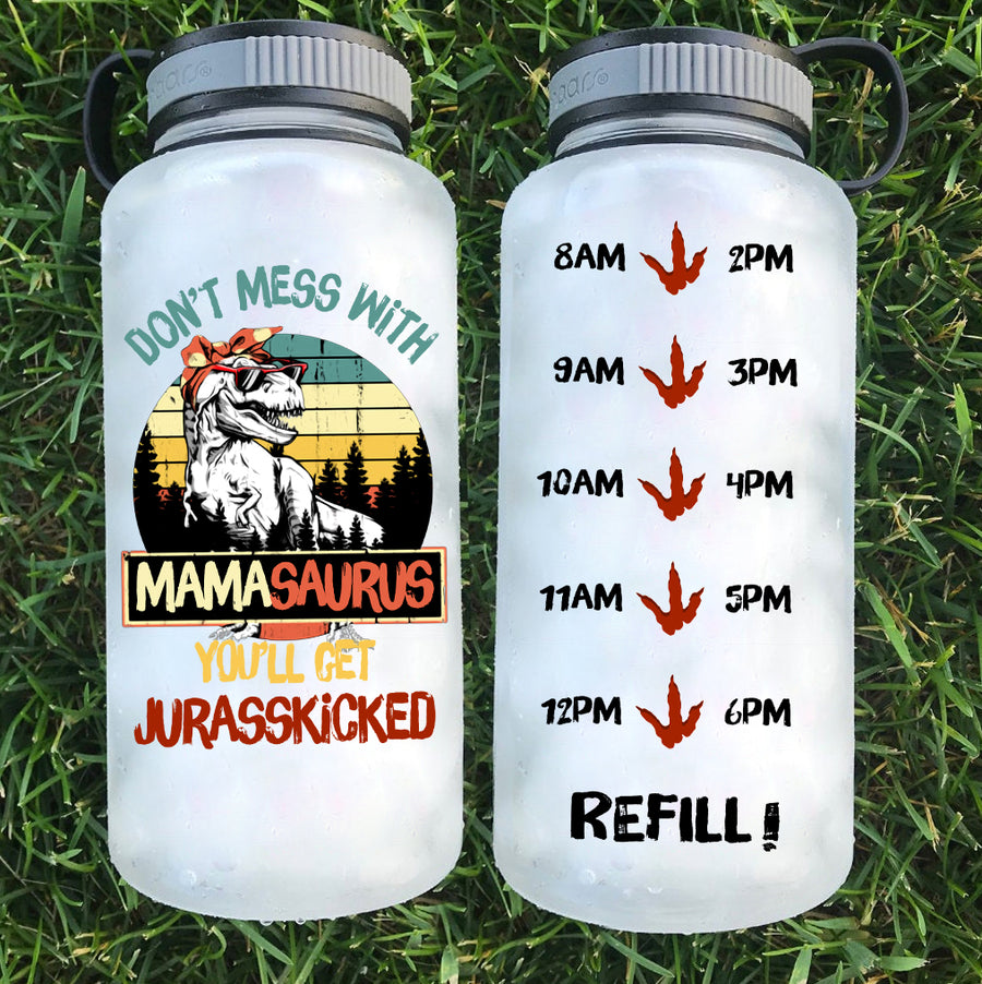 Dont' Mess With MamaSaurus Tracker Water Bottle | 34oz
