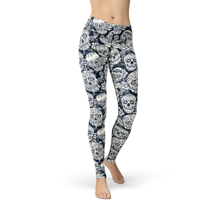 Black White Skulls Halloween Women's Leggings - Bucket Social
