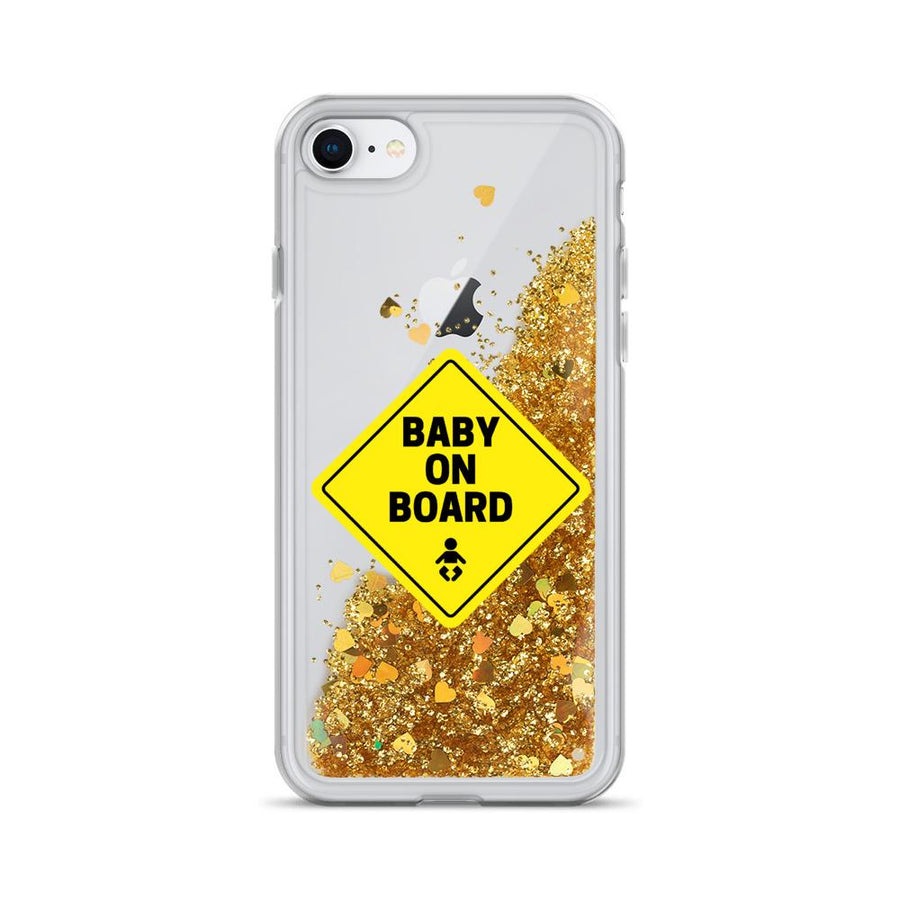 Baby On Board Liquid Glitter IPhone Case - Bucket Social