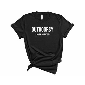 Outdoorsy I Drink On Patio's Women's T-Shirt - Bucket Social