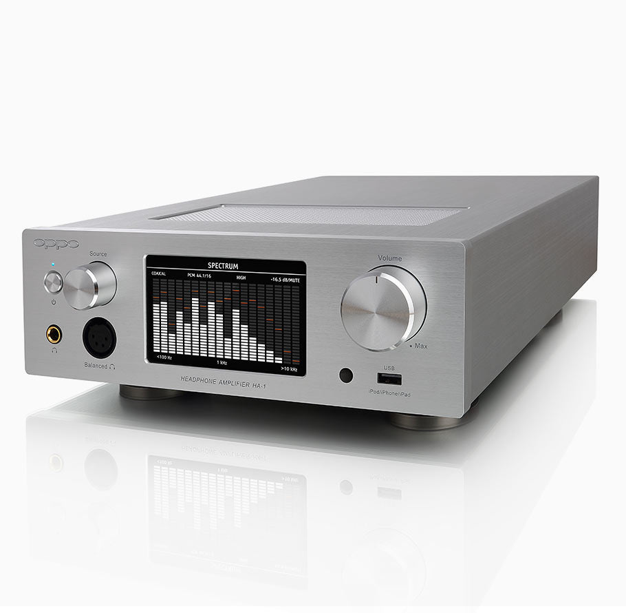 OPPO Digital New Zealand HA-1 Headphone Amplifier Silver - Angled View