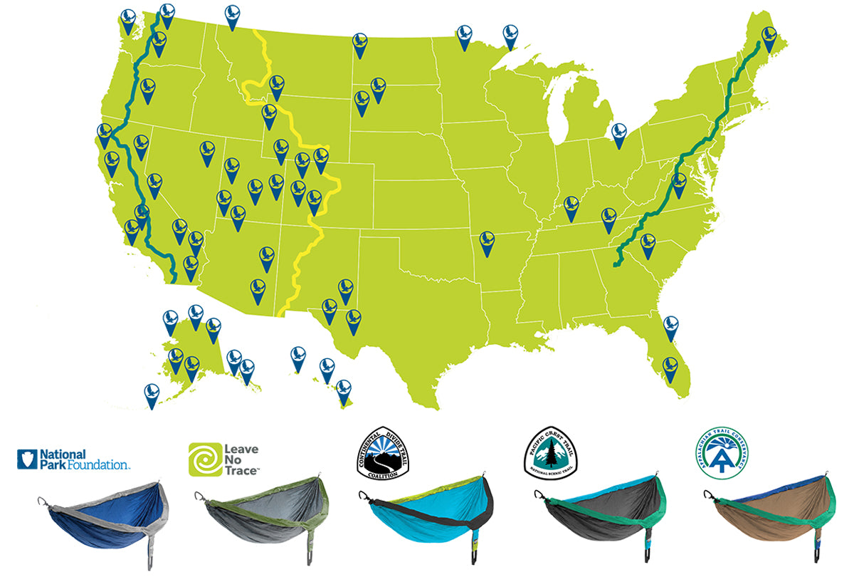 Eno Giving Back program - Map of locations across USA where we are stepping in to give back