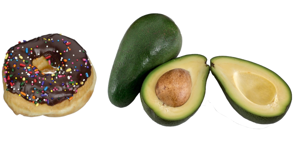 donut and avocados
