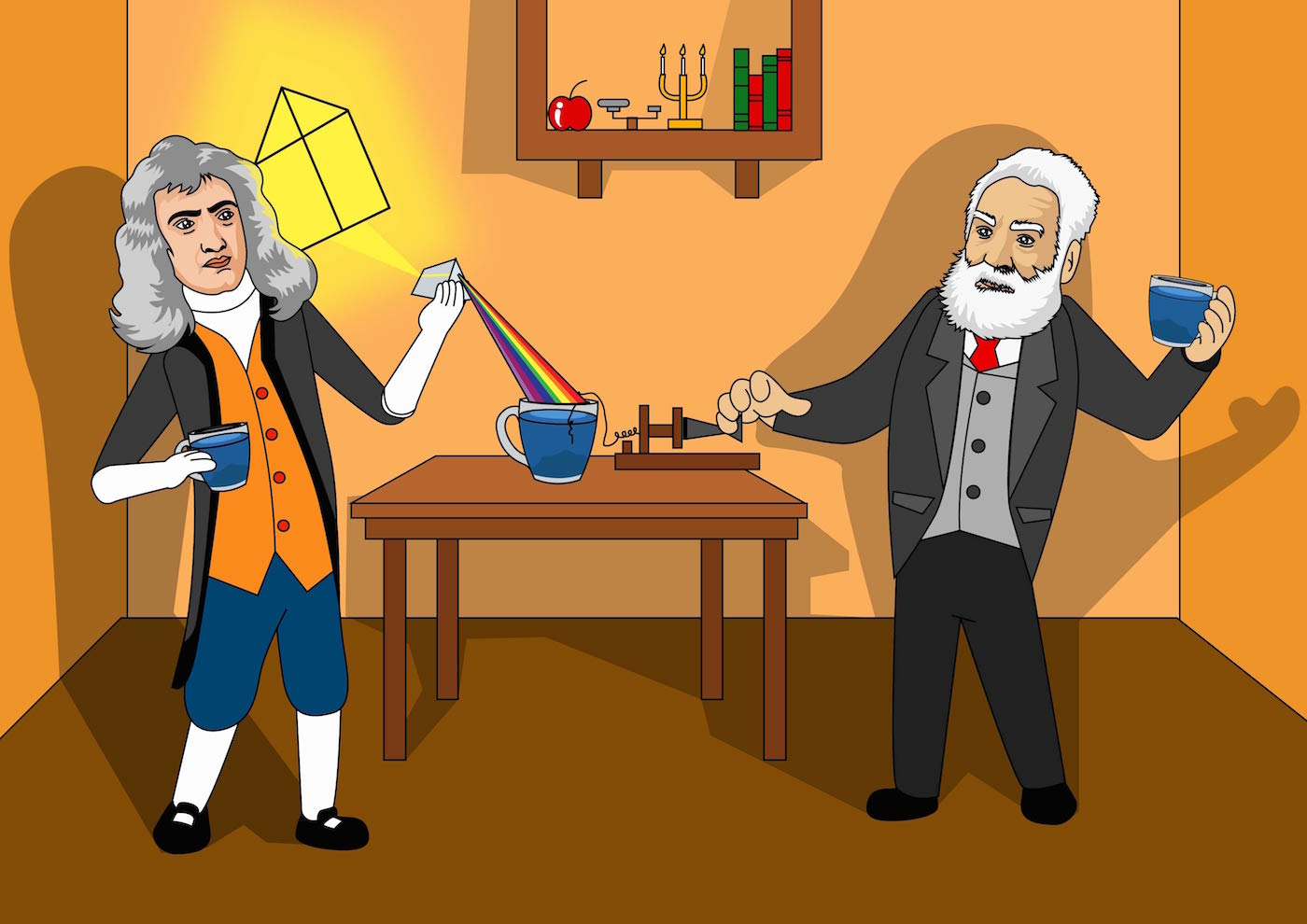 isaac newton and alexander graham bell studying palo azul