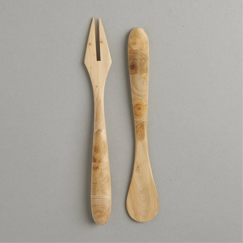 SWEDISH WOODEN HERRING FORK AND MUSTARD SPOON SET