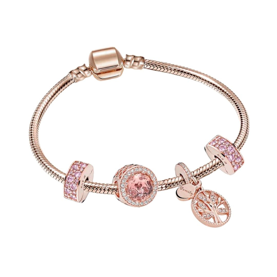 Bracelet with rose gold charms