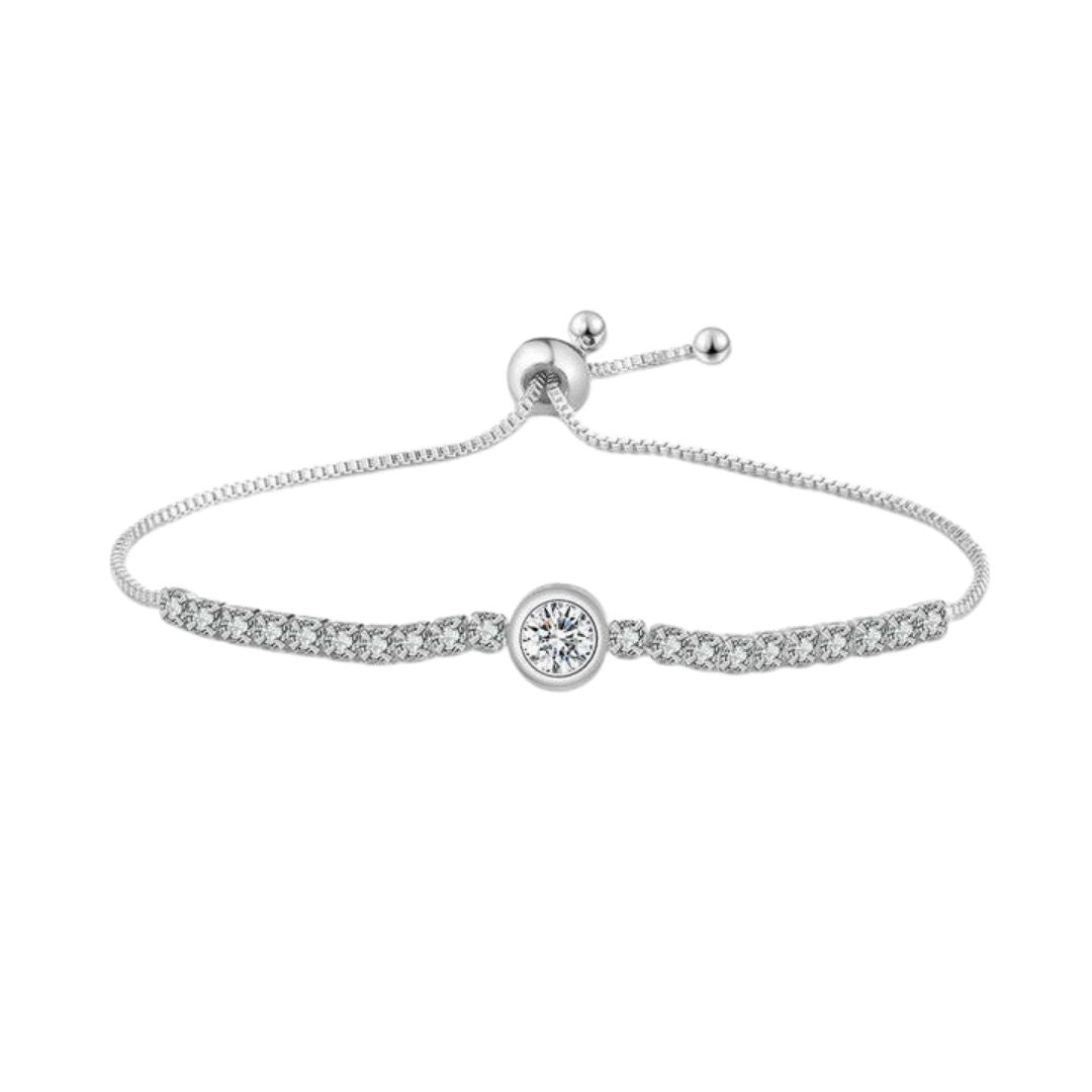 Adjustable zirconia bracelet Silver