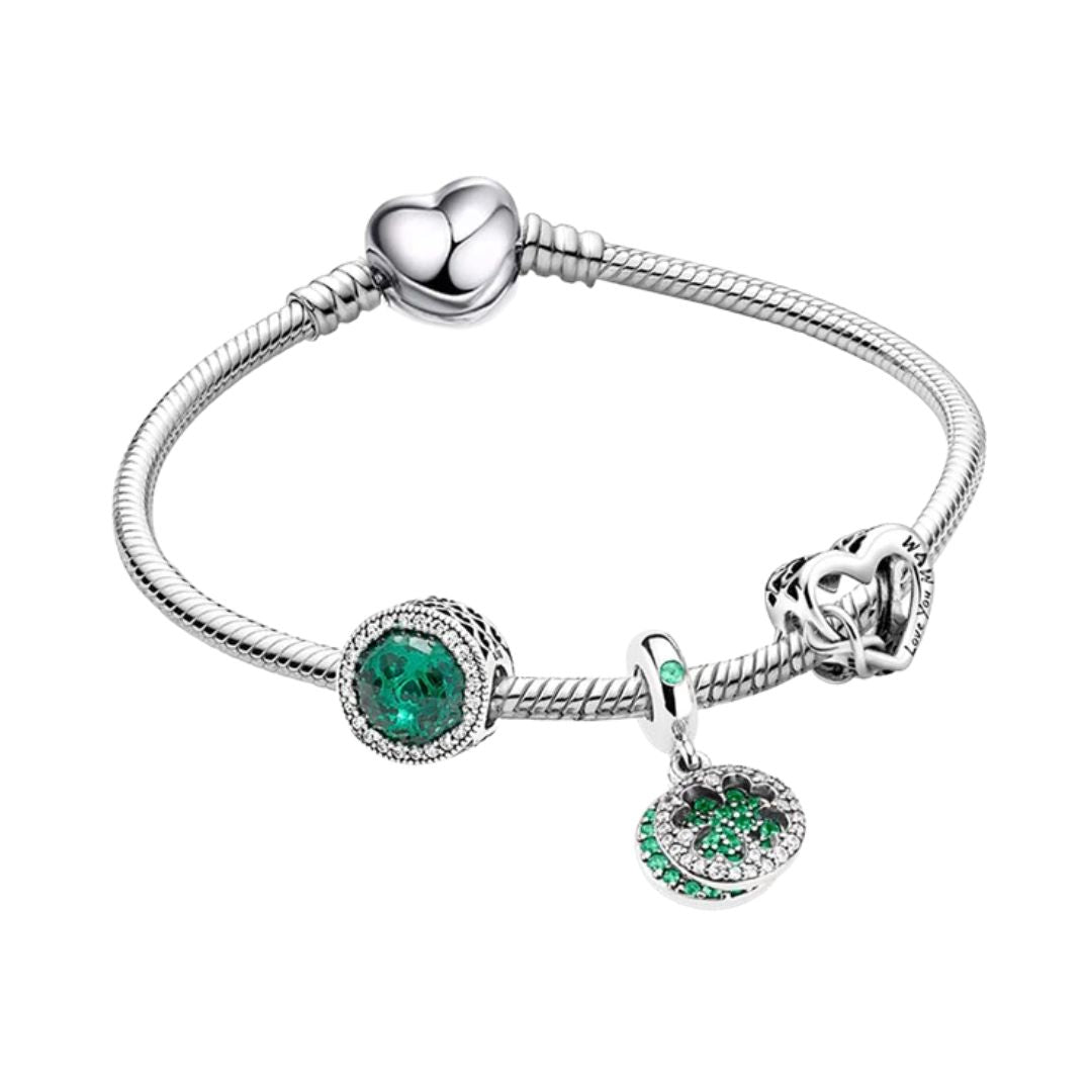 Bracelet with green charms