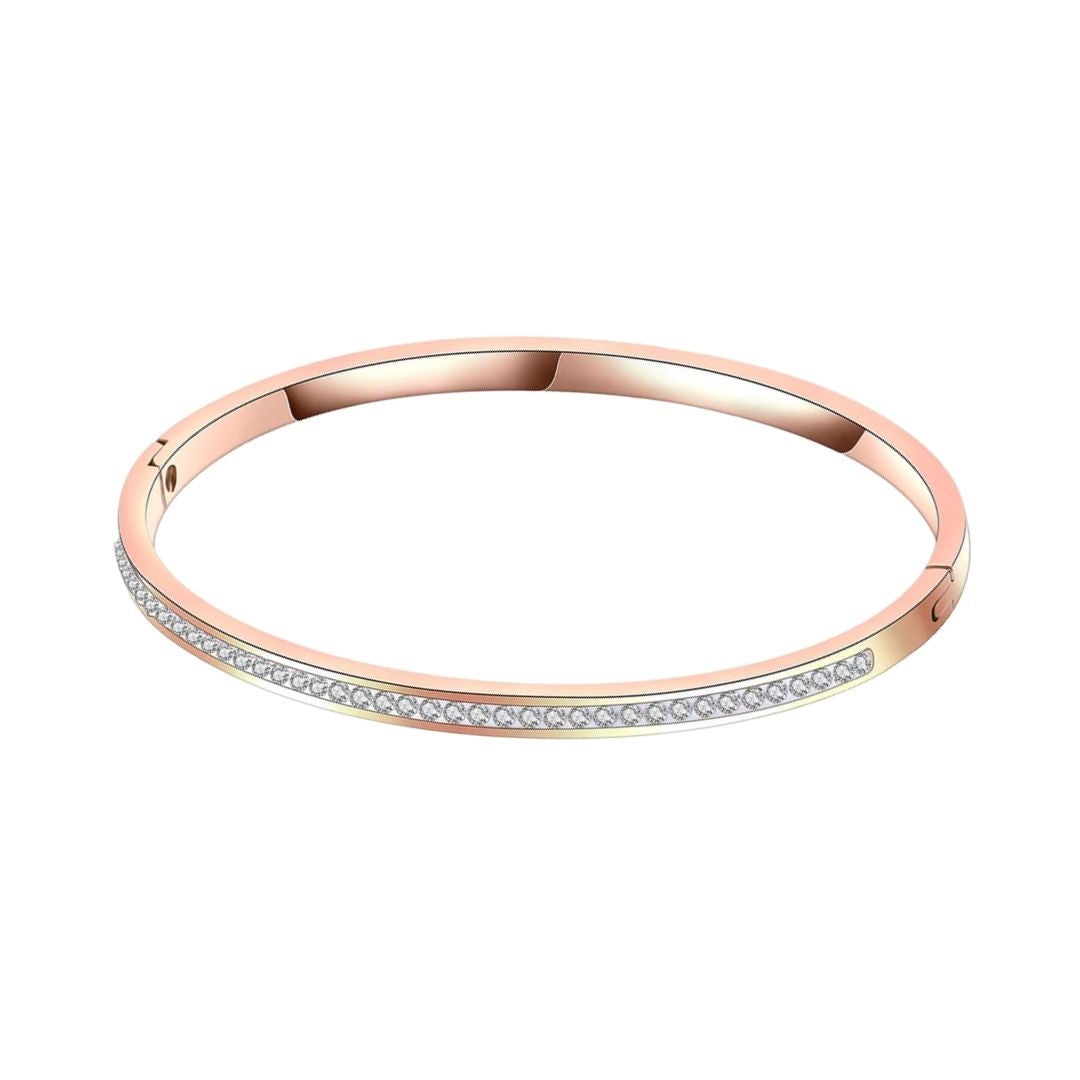 Rigid bracelet with zirconia band Rose gold